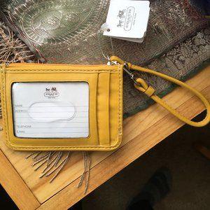 NWT Yellow Coach Zip Wristlet Wallet
